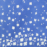 Handcrafted Indigos - Double Border - Tiny Flowers in Cobalt