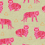 Tiger Plant Linen - Tigers in Fuschia