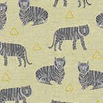 Tiger Plant Linen - Tigers in Greige