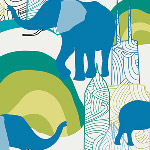 Art Gallery Fabrics - Jungle Ave. Elephant Skyline