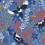 Taking Flight - Merry Magpies on Blue