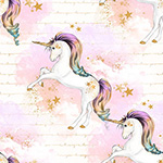 Rainbow Unicorns - Whispy Clouds in Cream