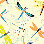 Toadily Cute - Happy Dragonflies in Light Yellow