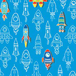 All Systems Glow - Rockets in Blue/Multi