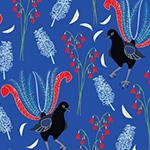 Outback Beauty - Lavish Lyrebirds in blue