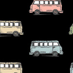 Benartex - Mini Vans in Black