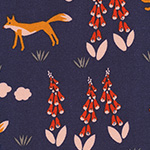 Foxglove - Fox in the Foxgloves in Navy