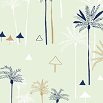 Ocean Drive - Swaying Palms on Blue/Grey Metallic