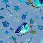 Blue Crush - Romantic Birds in Multi