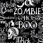 Fright Night - Halloween Words in Black