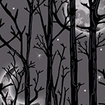 Fright Night - Moonlit Trees in Gray