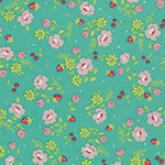 Lighthearted - Small Flowers - Pink on Teal