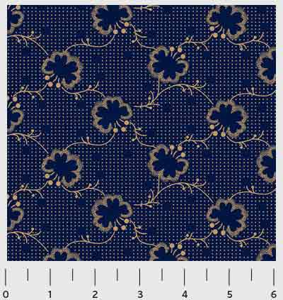 Signature Patriot - Spot Flowers in Dark Blue - Click Image to Close