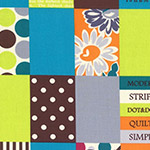 Modern Quilt - Spicy Scrap Squares in Light Blue/Lime