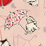 Radiant Girl - Cats and Umbrellas in Metallic Pale Pink