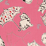 Radiant Girl - Cats and Umbrellas in Metallic Pink