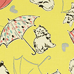 Radiant Girl - Cats and Umbrellas in Metallic Yellow