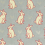 Radiant Girl - Bunnies and Hearts in Metallic Grey