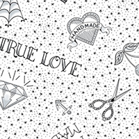 True Love - Flash in Black on White