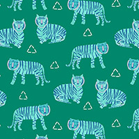 Tiger Plant Linen - Tigers in Opal
