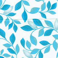 Pearl Reflections - Shimmer Leaves White/Teal