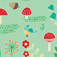 Rusty and Friends - Mushroom Patch in Green