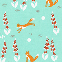 Foxglove - Fox in the Foxgloves in Turquoise