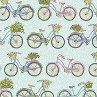 Antique Garden - Bicycles in Blue