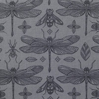 Panduro - Bugs and Dragonflies on Dark Grey (Wide)