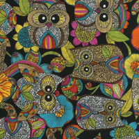 Owl's Nest - Novelty Mosiac Owls in Bright