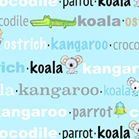 Koala Party - Aussie Words in Aqua/Blue