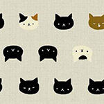 Neko 2 - Cats Faces in Cream - Metallic