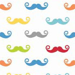 Geekly Mustache Small White/Multi