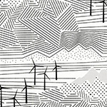 Palm Canyon - Windmill Farm in Black