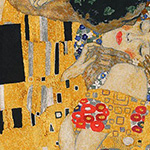 Gustav Klimt - The Kiss in Gold Metallic 60cm Panel