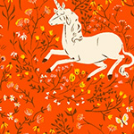 Heather Ross 20th - Unicorn in Orange