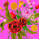Heather Ross 20th - Wild Flowers in Pink