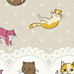 Caturday - Raining Cats Double Border in Tan