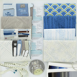 Literary - 7 Fat Quarter Bundle + 25cm Border Print (Blue/Taupe)