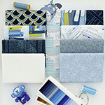 Literary - 7 Fat Quarter Bundle + 25cm Border Print (Indigo)