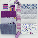 Literary - 8 Fat Quarter Bundle + 25cm Border Print (Purple)