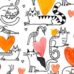 It's Raining Cats and Dogs - Hearts and Cats in Coral