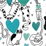 It's Raining Cats and Dogs - Hearts and Cats in Teal