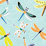 Toadily Cute - Happy Dragonflies in Aqua