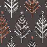 Winterfold - Trees in Charcoal, Copper Metallic