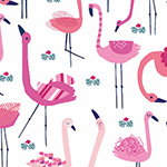 Ocean Drive - Pink Flamingos on White