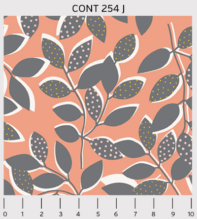 Contours - Leaves in Coral - Click Image to Close