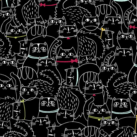 Cat Fish - Sketched Cats in Black - Click Image to Close