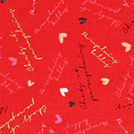 Radiant Girl - Hearts and Words in Metallic Red