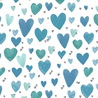 It's Raining Cats and Dogs - Playful Hearts in Teal
